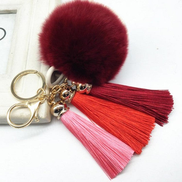 Hot! Pompom Tassell Wine Key Ring