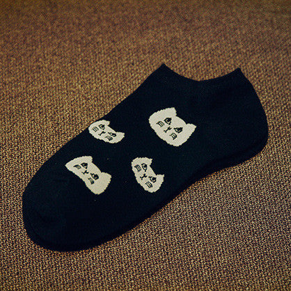 Cool Comfy Black & White Ankle Socks! Cat Faces