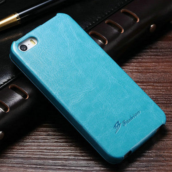 Blue Luxury Leather  Flip Case For iPhone 5S 5 SE