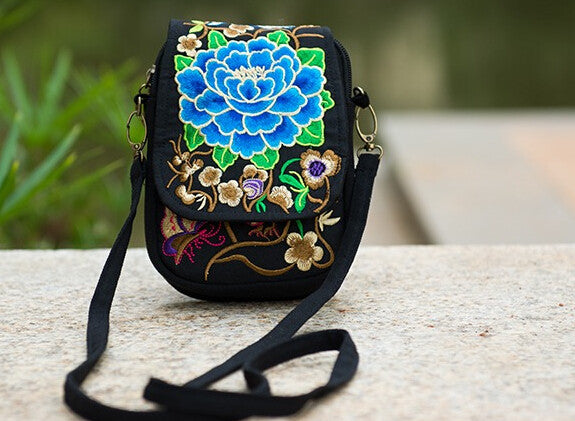 Ethnic Boho Embroidered Vintage Blue Flowers on Black Canvas Beach Coin/Phone Bag