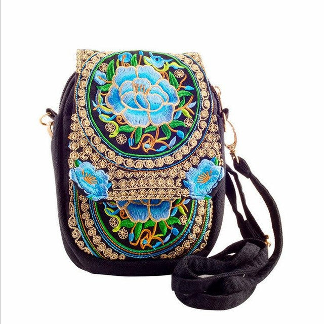 Ethnic Boho Embroidered Blue Peonies Vintage Canvas Beach Coin/Phone Bag