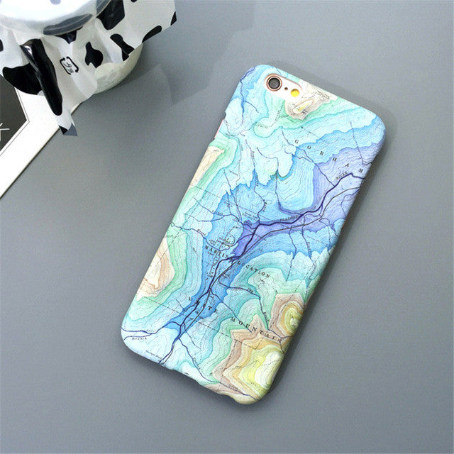 Map Graphic Phone Case For iPhone 5 5s 5c 6 6s 7 Plus