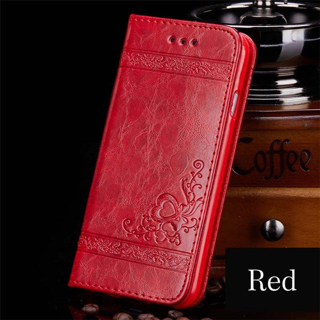 Red Embossed Leather Flip Phone Case with Card Slots for i iPhone 7 Plus 6 6s Plus 5s 4s