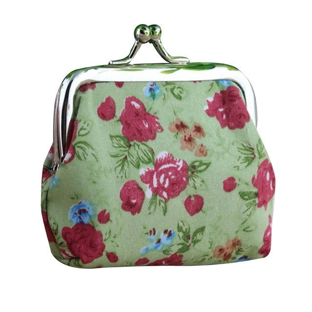 Retro Roses Green Coin Purse/Card Holder