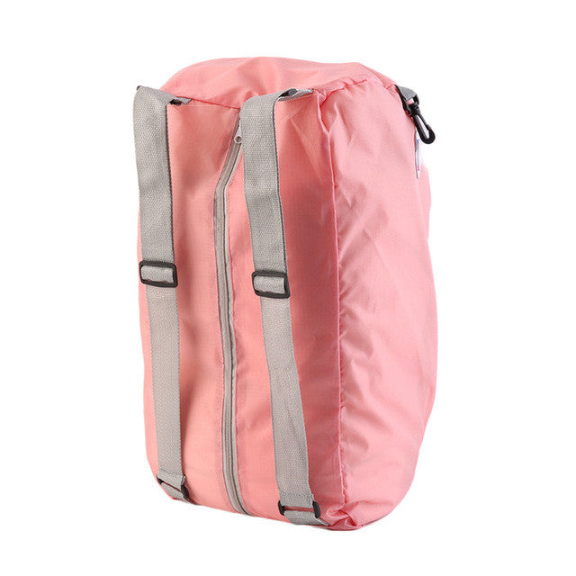 Pink Solid Portable Zipper Daily Traveling Sports Backpack/Shoulder bag