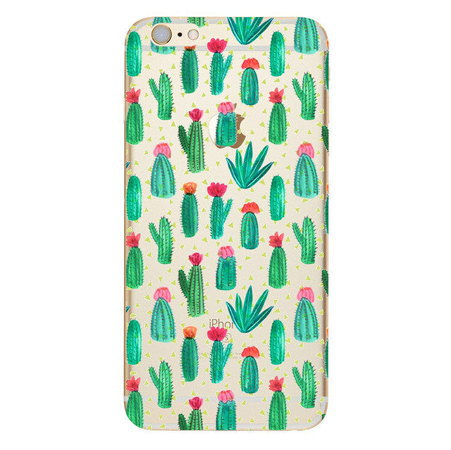 Lots of green Cactus with red flower tops Phone Case For iPhone 7 7Plus 6 6s Plus 5 5s SE