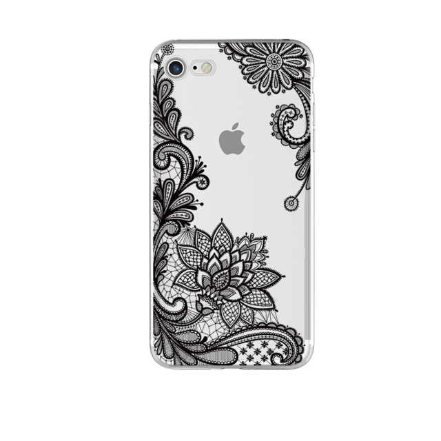 Black Floral Design on Clear Phone Case For iPhone 7 7Plus 6 6s Plus 5 5s SE