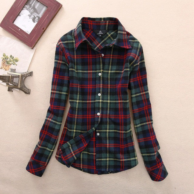 Green Blue Red Women's Plaid Shirt 2017 Chic, Slim Long Sleeve. Easy Vintage All Sizes