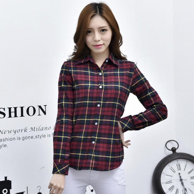 Dark Pink Women's Plaid Shirt 2017 Chic, Slim Long Sleeve. Easy Vintage All Sizes