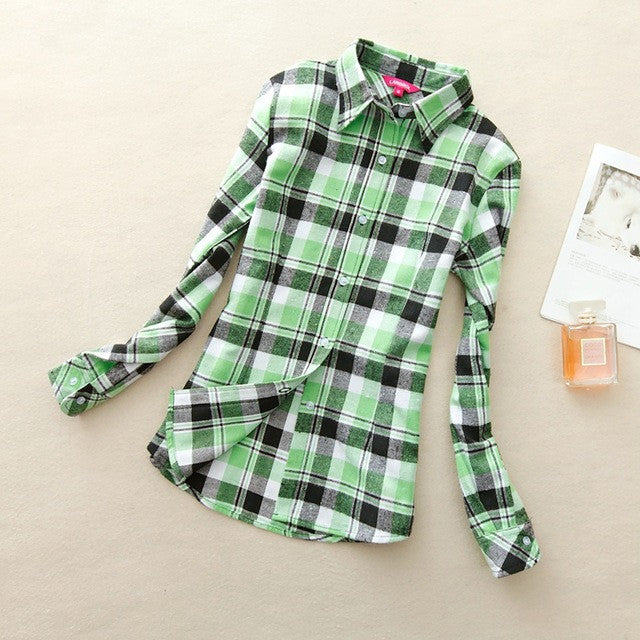 Green Power! Women's Plaid Shirt 2017 Chic, Slim Long Sleeve. Easy Vintage