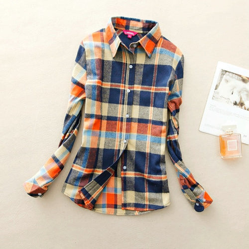 Hipster Blue Orange Women's Plaid Shirt 2017 Chic, Slim Long Sleeve. Easy Vintage