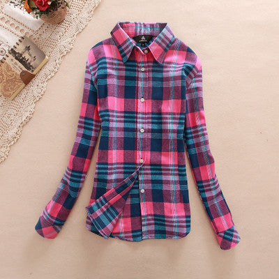 Pink! and Blue Women's Plaid Shirt 2017 Chic, Slim Long Sleeve. Easy Vintage