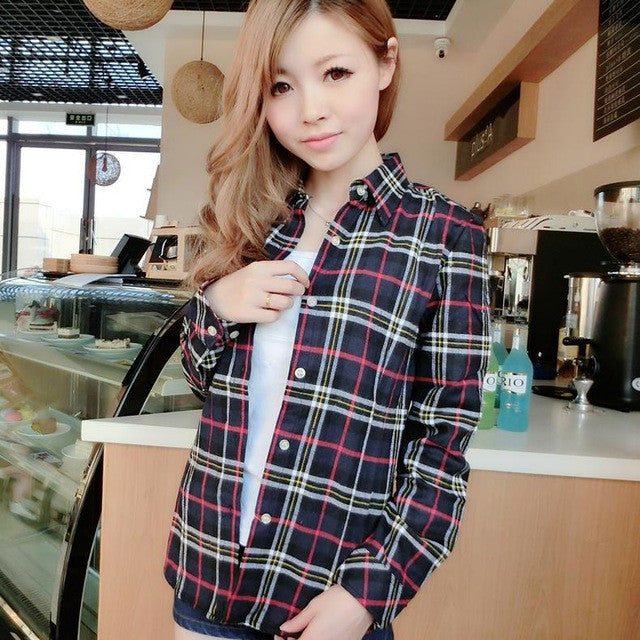 So Hot Women's Plaid Shirt 2017 Chic, Slim Long Sleeve. Easy Vintage