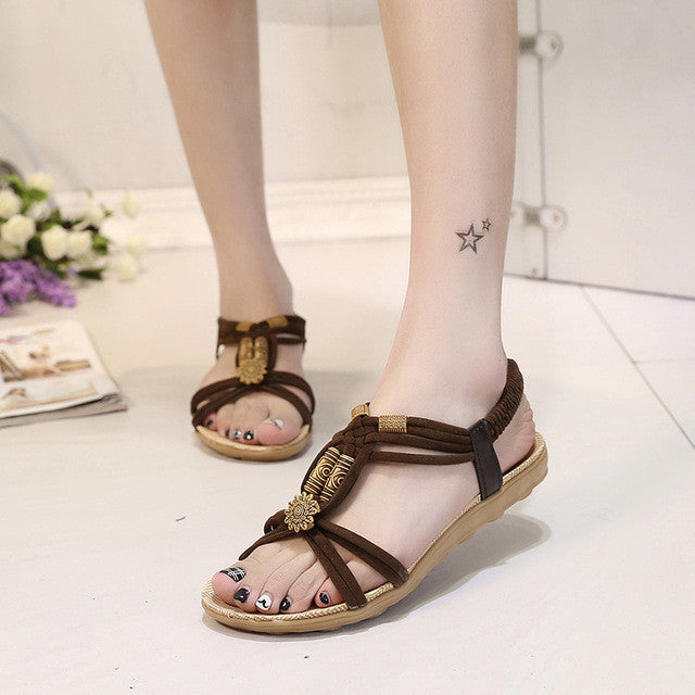 Beautiful Brown 2017 Sandal Fashion Carved Pieces