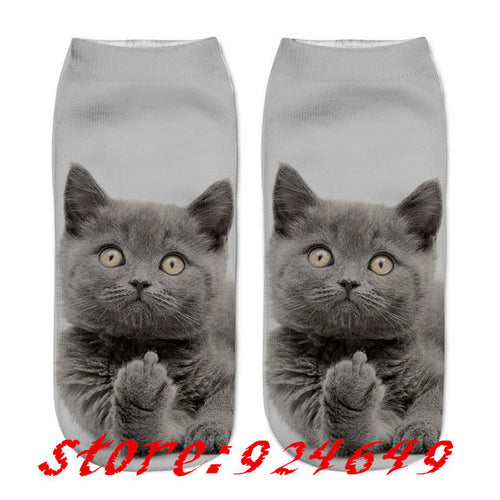 OH So Pretty/Cute/ Kittys Low Ankle Socks/Grey