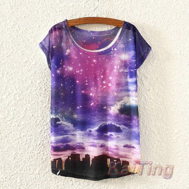 2017 New Summer Purple Starry Clouds Print T Shirt