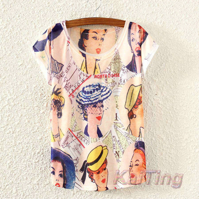 2017 New Summer Vintage Ladies in Hats Print T Shirt