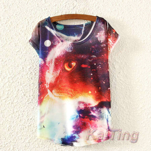 2017 New Summer Cat Print T Shirt