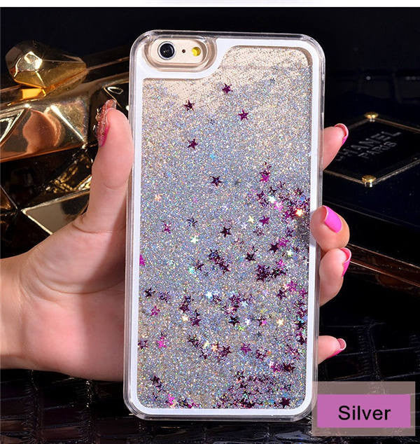 Silver with Stars Phone Case For iPhone 7 7Plus 6 6s Plus 5 5s SE 4