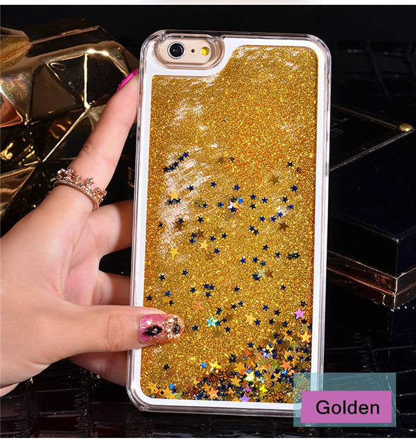 Gold with Stars Phone Case For iPhone 7 7Plus 6 6s Plus 5 5s SE 4