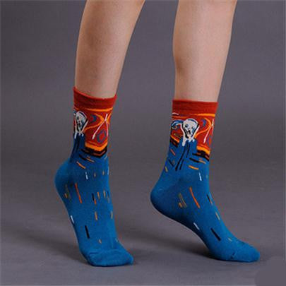 European Art Socks/ Women, Dark Blue Scream