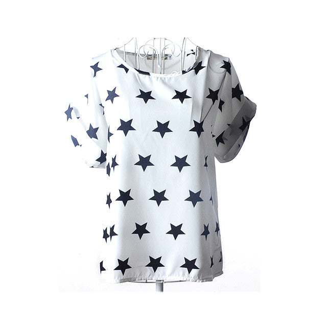 2017 Summers Cool Top White with Black Stars