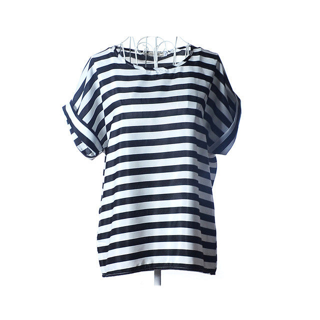 2017 Summers Cool Top Black & White Stripes