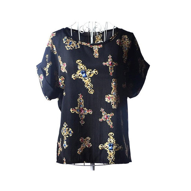 2017 Summers Cool Top Black With Gold Medieval Cross With Sapphire Blue Center