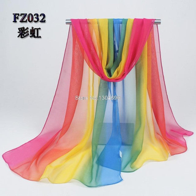 Chiffon 2017 Beach Cover/Scarves Rainbow 135*175cm