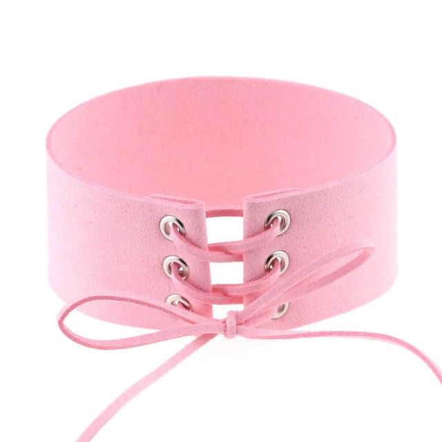 Bijoux Sexy Harajuku Lace Up Punk Gothic Choker Vintage Pretty Pink Velvet Leather