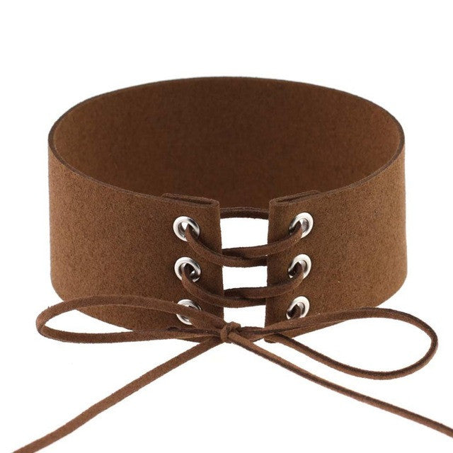 Bijoux Sexy Harajuku Lace Up Punk Gothic Choker Vintage Brown Velvet Leather