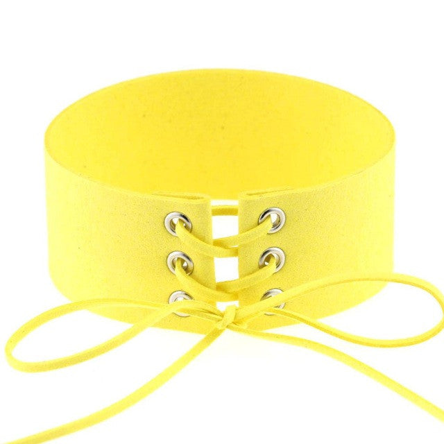 Bijoux Sexy Harajuku Lace Up Punk Gothic Choker Vintage Yellow Velvet Leather