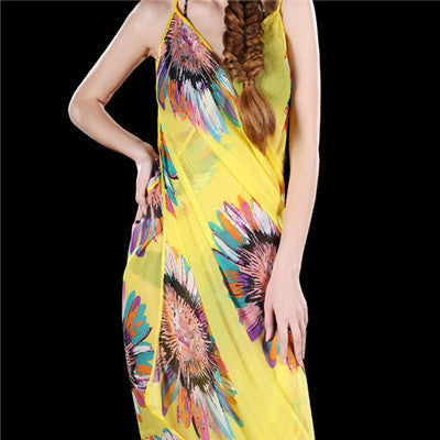 New Sexy Chiffon Yellow Long Soft Shawl, Scarves, Dual Summer Wrap