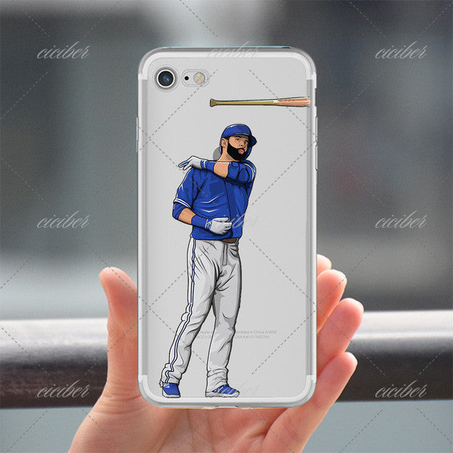 Bat Throw Baseball Clear Phone Case for ALL iPhone 7 7Plus 6 6s Plus 5 5s SE