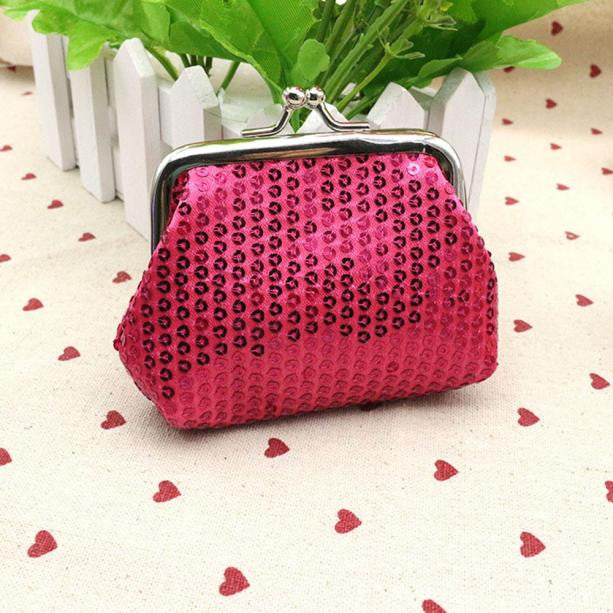 Small Sequin Rose/Red Card/Coin Clutch