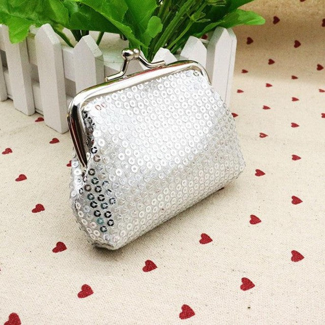 Small Silver Sequin Card/Coin Clutch