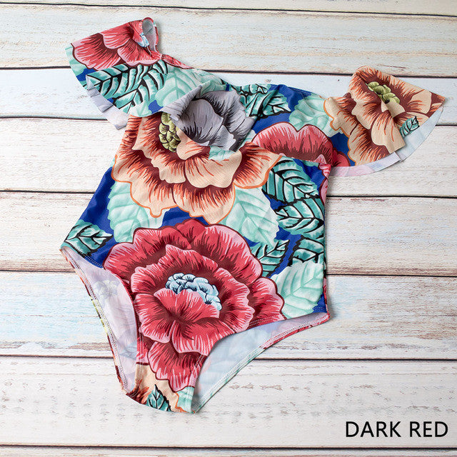 2017 Ruffled Off Shoulders Dark Red Floral Swim/Body Suit