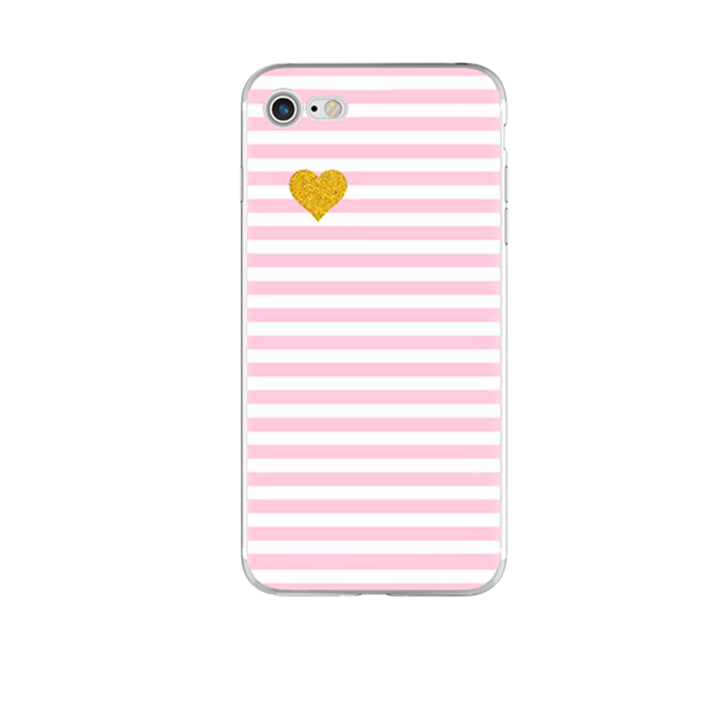Pink and White Stripes Phone Case For iPhone 7 7Plus 6 6s Plus 5 5s SE