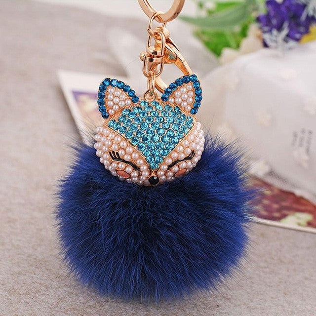 2017! Fantastic Furry Fox Rhinestone Dark Blue Key Ring