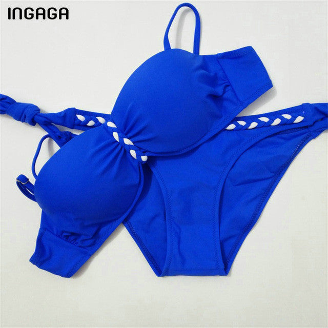 New Sexy 2017 Bright Blue Push Up Bikini