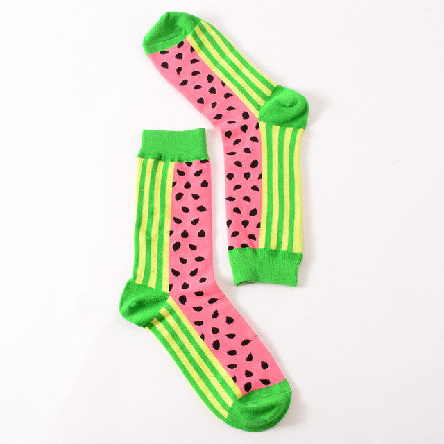 Colorful British Style Crew Socks One Size Men/Women Watermellon