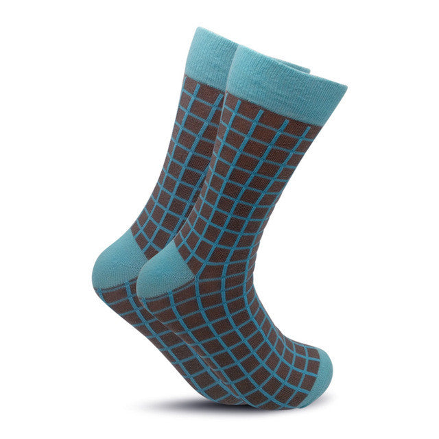 Colorful British Style Crew Socks One Size Men/Women Brown Blue Checkerboard