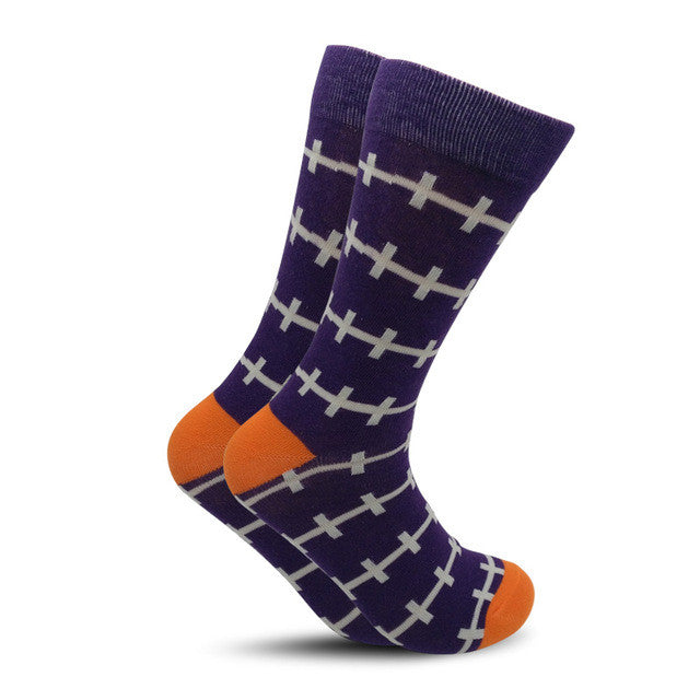 Colorful British Style Crew Socks One Size Men/Women Navy White Lines