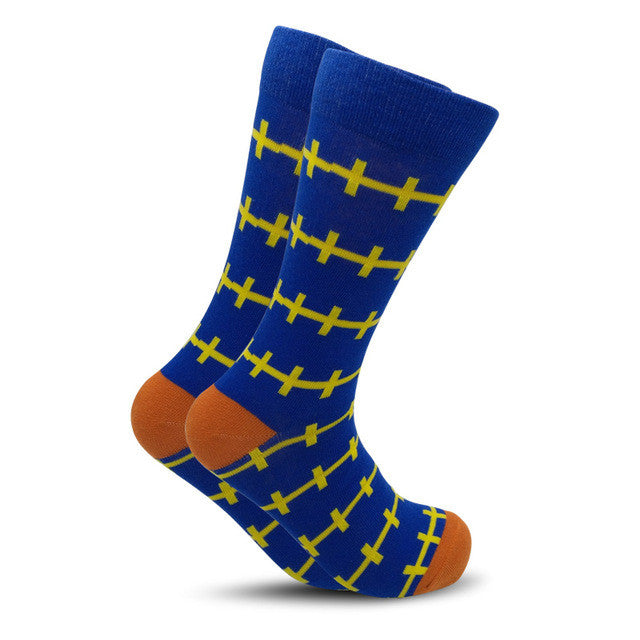 Colorful British Style Crew Socks One Size Men/Women Blue Yellow Lines