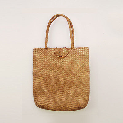 Luxurious Handmade Woven Summer Straw Brown Tote