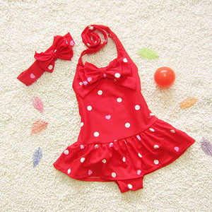 Little Girls Red One Piece Swimsuit With white Polka Dots and Ruffle Skirt