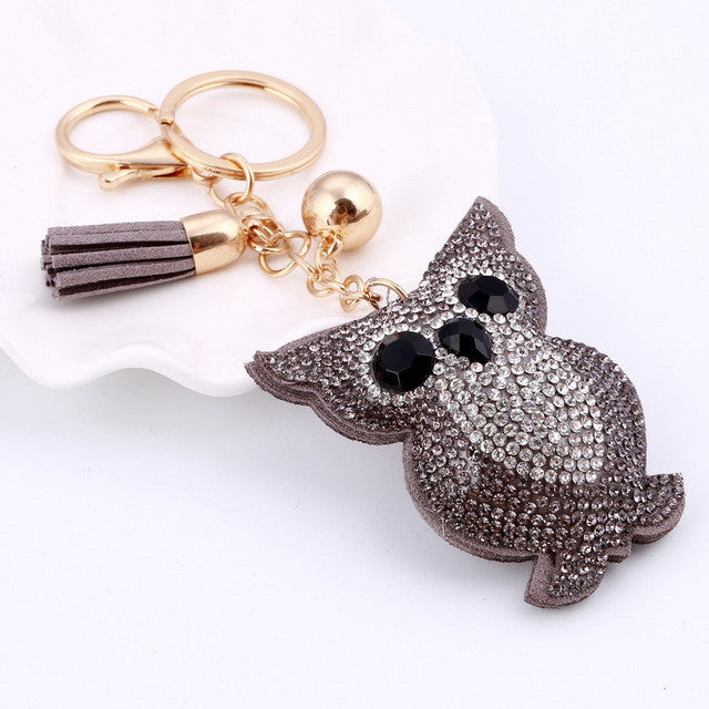 Awsome! Sliver Rhinestone Crystal Owl Key Ring