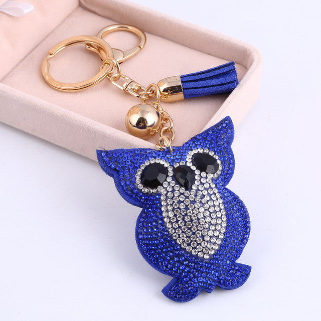 Awsome! Blue Rhinestone Crystal Owl Key Ring