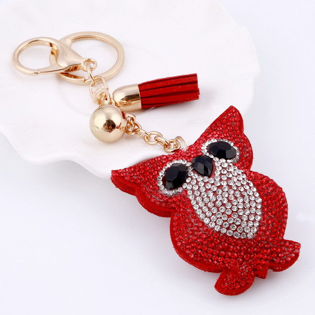 Awsome! Red Rhinestone Crystal Owl Key Ring