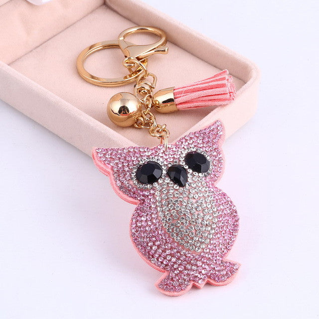 Awsome! Pink Rhinestone Crystal Owl Key Ring
